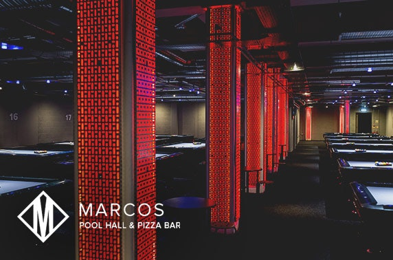 Marco's Pool Hall pool game plus pizza or drinks