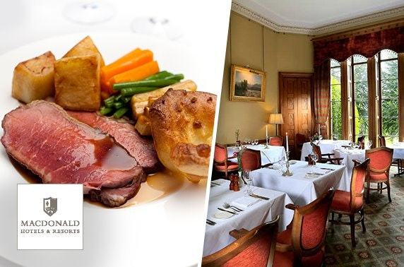 2 AA Rosette-awarded Sunday roast, Macdonald Pittodrie House