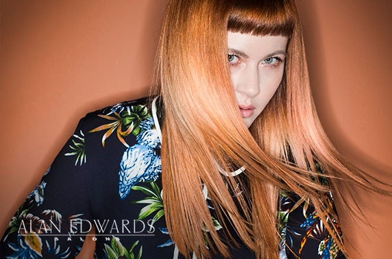 Award-winning Alan Edwards cut, blow dry & colour