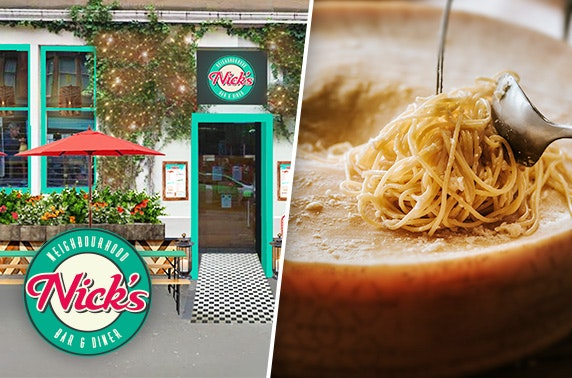 Cheese wheel pasta at newly relaunched Nick's, Hyndland