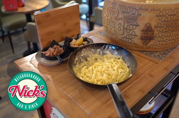 Cheese wheel pasta at Nick's, Hyndland
