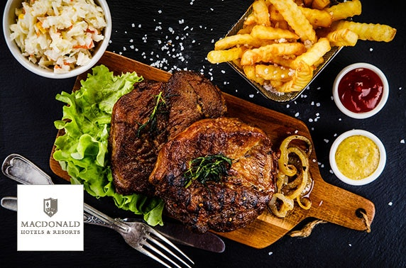 Steak or vegan burgers, 4* Macdonald Pittodrie House