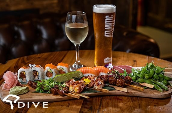 Sushi platter & drinks at Dive NQ