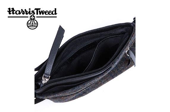 Harris Tweed zip top cross body bag