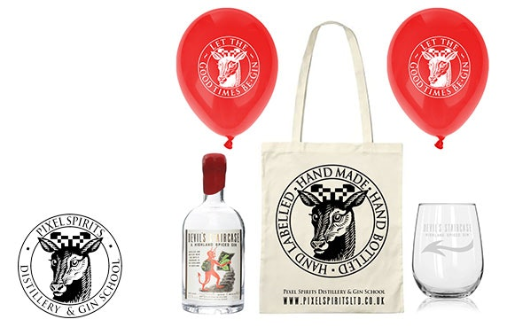 Gin gift bag from the multi-award winning Pixel Spirits; includes 2 x 20cl bottles of gin, matching glasses, 10% off a future gin school visit & more!