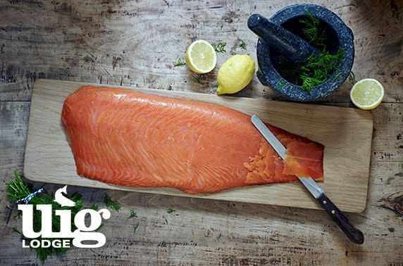Award-winning smoked salmon and wine - from £16