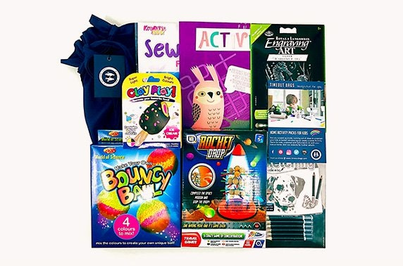 Two kids home isolation activity packs from Timeout Bags