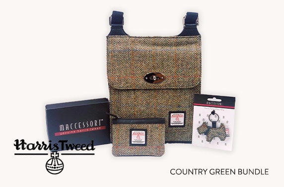 Harris Tweed accessories bundle in country green