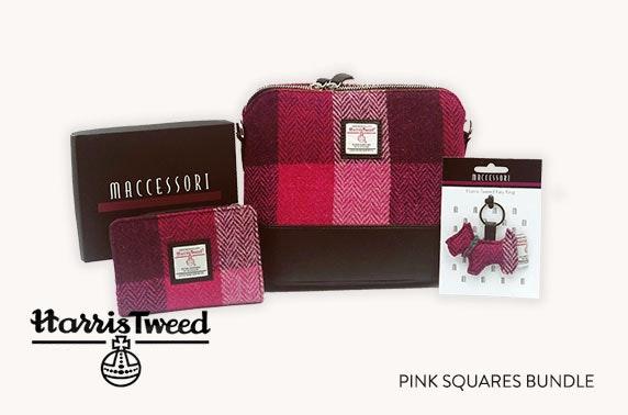 Harris Tweed accessories bundle in pink squares