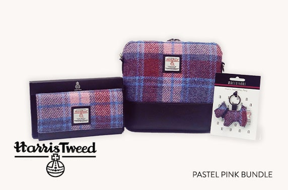 Harris Tweed accessories bundle in pastel pink