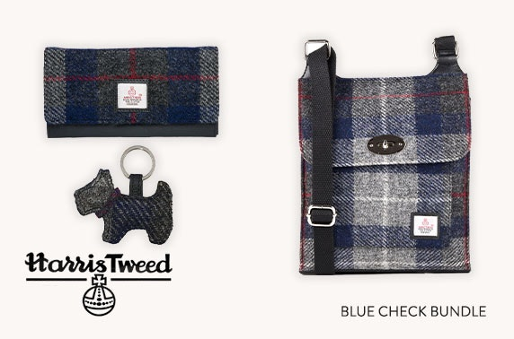 Harris Tweed accessories bundle in blue check