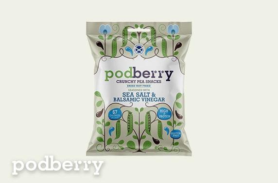 8 packs of Podberry Crunchy Pea Snacks