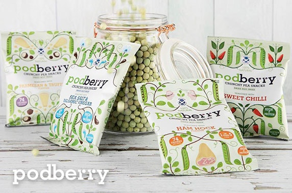 36 packs of Podberry Crunchy Pea Snacks