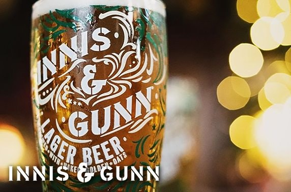 1 case (24 bottles) of Innis & Gunn lager with branded pint glass and wall mounted bottle opener