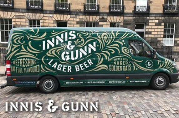 4 cases (96 bottles) of Innis & Gunn lager with branded pint glass and wall mounted bottle opener