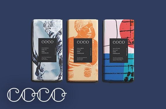 COCO Chocolatier; chocolate bars or isolation kit