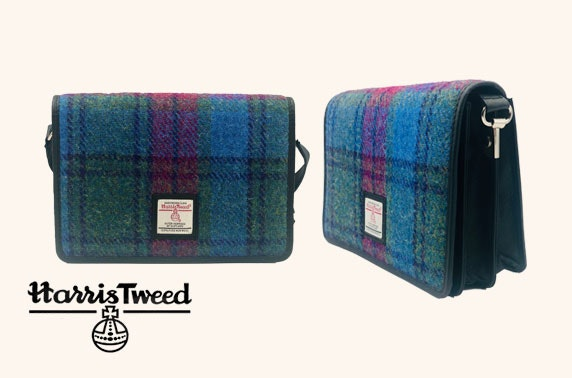 Harris Tweed accessories bundle with shoulder bag, ladies purse and heart keyring