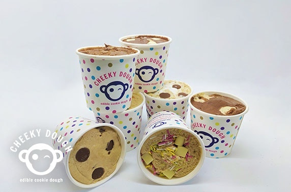 4 tubs of flavoured cookie dough from Cheeky Dough