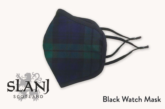 Matching face mask and scarf in Black Watch tartan