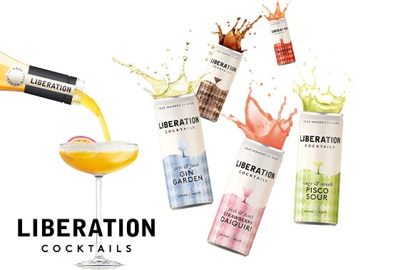 Premium batched cocktails in cans, bottles and 5L party kegs; Liberation Cocktails