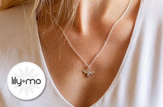 Handcrafted bee necklace from Lily-Mo; choose from silver, gold or rose gold