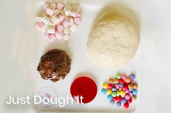 DIY 3 course meal for two; inc cheesy garlic starters, Margherita & dessert pizza kits