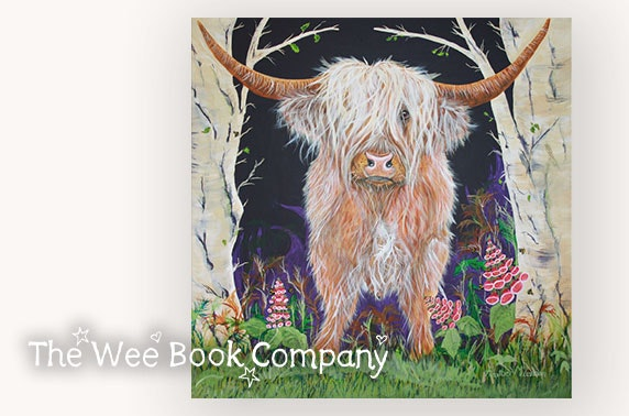 Brodie, Heighlan Coo print & copy of Bea and Brodie's Mindful Journey from The Wee Book Company