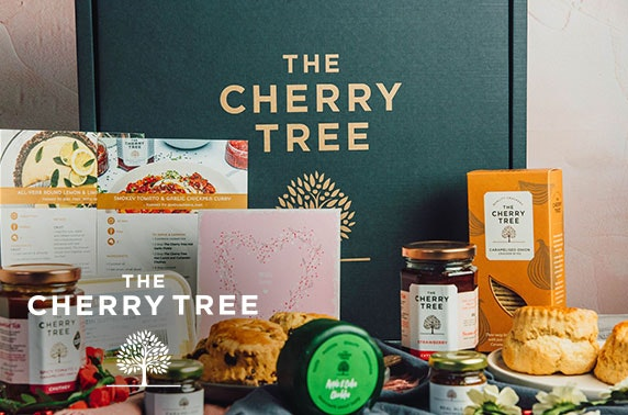 Afternoon tea gift box from The Cherry Tree inc. scones, preserves, cheese and more