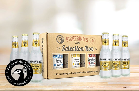 Pickering's Gin selection box inc 3 x 20cl flavoured gins & 6 Fever Tree tonics