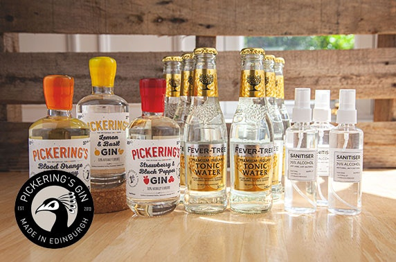 Pickering's Gin selection box inc 3 x 20cl flavoured gins, 6 Fever Tree tonics & 4 sanitisers