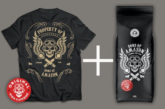 500g bag of coffee with a branded t-shirt
