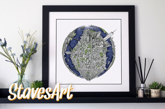 Hand drawn cityscapes, free delivery
